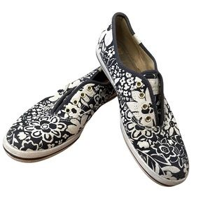 Kate Spade x Keds blue and white floral sneakers
